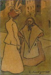 Dama i alcavota - 1898 - Llapis Conté, llapis grafit i aquarel·la sobre paper envernissat posteriorment - 22 x 15 cm - Col·lecció privada