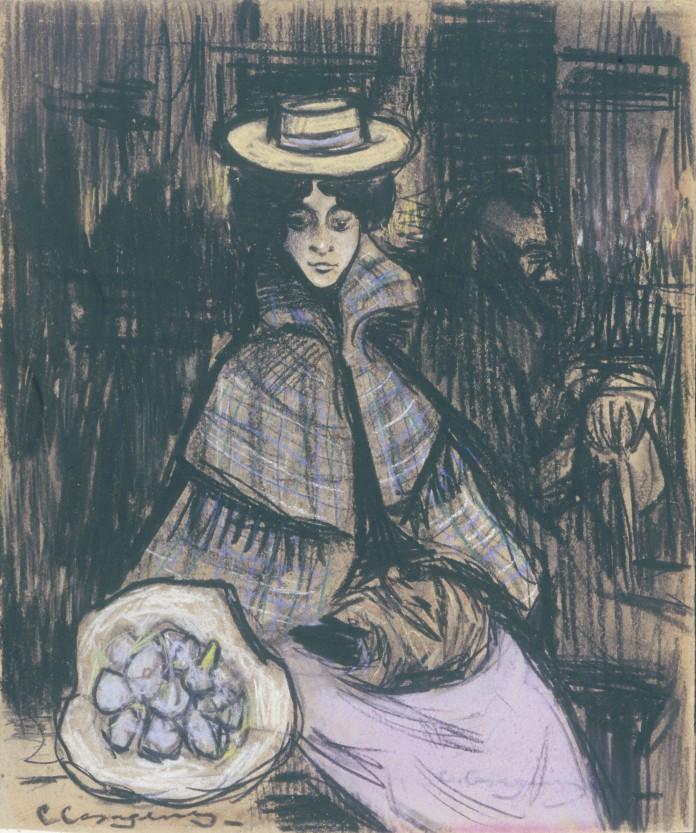Germaine a l'omnibus - 1900 - carbó, pastel i llapis Conté sobre paper - 26 × 21,5 cm - Museu d'Art de Sabadell
