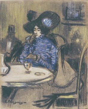 La bevedora d'absenta - 1900 - carbó, pastel i llapis Conté sobre paper - 26 × 21,5 cm - Museu d'Art de Sabadell