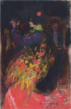 Manola - 1900 - Llapis grafit, llapis Conté, pastel i guaix sobre paper - 23 × 14 cm - Col·lecció privada