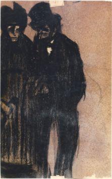 Parella fosca - 1900 - Carbó sobre paper - 26 × 16 cm - Col·lecció privada