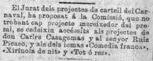 Menció dels premis accèssits del cartell de carnestoltes 1900 - La Veu de Catalunya [ed. nit], Noticias de barcelona. 08/02/1900, p. 2