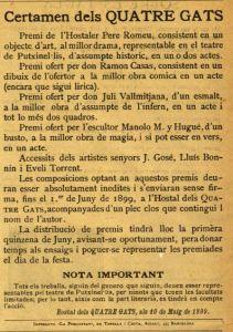 Certamen dels Quatre Gats - Núm. 13,  Revista Quatre Gats, 11/05/1899, p. 4
