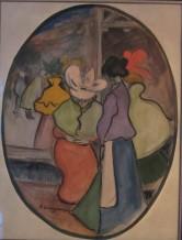 Dones parlant - 1900 - Llapis grafit, llapis Conté, tinta, gouache i aquarel·la sobre paper - 56 × 43,5 cm - Col·lecció privada